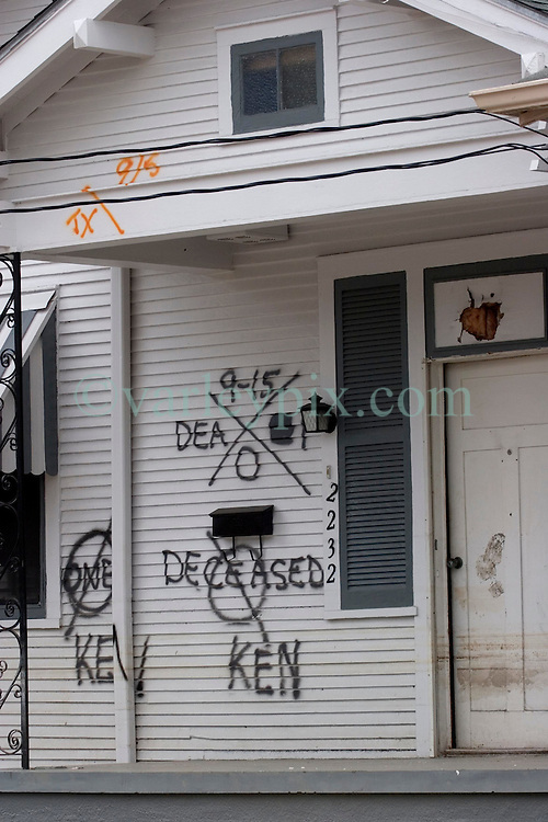 10 December, 05. New Orleans, Louisiana. Post Katrina aftermath.<br /> Deceased. The front porch of a house in Gentilly where sadly a victim of the storm perished.<br /> Photo; ©Charlie Varley/varleypix.com
