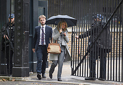 © Licensed to London News Pictures. 07/10/2019. London, UK. Minister of State for Housing ESTHER MCVEY its sen cleaving a rear exit of Downing Street in Westminster. Activists will converge on Westminster blockading roads in the area for at least two weeks calling on government departments to 'Tell the Truth' about what they are doing to tackle the Emergency. Photo credit: Ben Cawthra/LNP