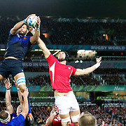 Lionel Nallet, France, wins a line out from Luke Charteris, Wales,  during the Wales V France Semi Final match at the IRB Rugby World Cup tournament, Eden Park, Auckland, New Zealand, 15th October 2011. Photo Tim Clayton...
