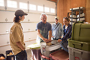 Frank Morton discusses seed keeping with Alex Wenger, Julie Dawson, and Claire Luby at Wild Garden Seed farm in Philomath, OR.