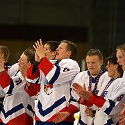 Ice land celebrate victory after the National Anthem after the China V Iceland match during the 2012 IIHF Ice Hockey World Championships Division 3 held at Dunedin Ice Stadium. Dunedin, Otago, New Zealand. 22nd January 2012. Photo Tim Clayton