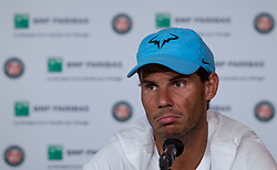 May 31, 2018 - Paris, Ile-de-France, France - Rafael Nadal of Spain gives an interview aftre his match at the second round at Roland Garros Grand Slam Tournament - Day 5 on May 31, 2018 in Paris, France. (Credit Image: © Robert Szaniszlo/NurPhoto via ZUMA Press)
