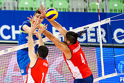 Jani Kovacic of Slovenia vs Simon Guerra Uteau of Chile and Tomas Parraguirre of Chile during volleyball match between Slovenia and Chile in Group A of FIVB Volleyball Challenger Cup Men, on July 3, 2019 in Arena Stozice, Ljubljana, Slovenia. Photo by Matic Klansek Velej / Sportida