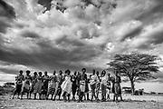 Samburu tribe gathered together to dance, black and white ,Samburu, Kenya, Africa