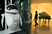 Robot at Dorsett Hotel, Shanghai. Interactive doorman/information robot welcomes customers as they enter the hotel, China