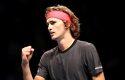Alexander Zverev celebrates during the men's singles match during day six of the Nitto ATP Finals at The O2 Arena, London.