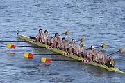London, United Kingdom. Tideway Scullers School B Crew, from Barnes Rail Bridge ridge  2014 Women's Head of the River Race. Chiswick to Putney, River Thames.  Saturday  15/03/2014    [Mandatory Credit; Peter Spurrier/Intersport-images]