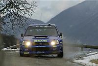 MONTE CARLO RALLY, 20030125, <br />  PETTER SOLBERG - PHILL MILLS / SUBARU IMPREZA WRC - ACTION<br /> PHOTO : FRANCOIS BAUDIN / DIGITALSPORT