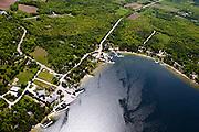Aerial view of Gills Rock, Door County, Wisconsin.