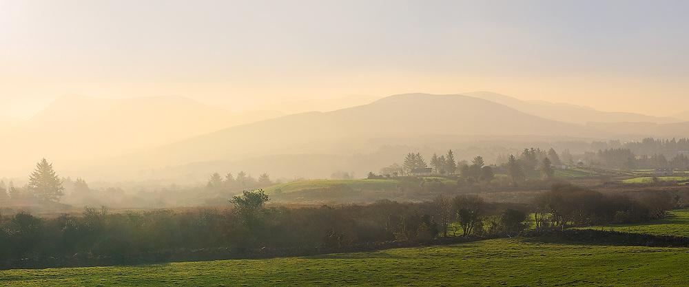 Misty Sunrise Panorama, Kerry Highlands, County Kerry, Ireland / ba072