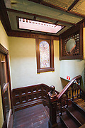 San Jose California USA, Interior of the winchester mystery house a Victorian mansion, designed and built Sarah L. Winchester construction began in 1884. staircase to nowhere