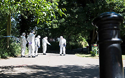 © Licensed to London News Pictures. 22/06/2018. Chelmsford, UK. Police forensics at the scene where a man has died after being found with severe injuries on Cromar Way, Chelmsford, Essex. A murder investigation has been launched. Photo credit: Simon Ford/LNP