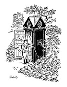 (An AA man keeps garden tools in his call box and prepares to tidy the surrounding area)