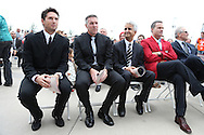 10 October 2013: From left: 2013 inductees Joe-Max Moore and Peter Vermes, U.S. Soccer Federation president Sunil Gulati, Eric Wynalda, and Dan Flynn. The 2013 National Soccer Hall of Fame Induction Ceremony was held on the West Plaza outside Sporting Park in Kansas City, Kansas.
