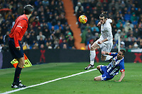 Real Madrid´s Gareth Bale and Deportivo de la Coruna´s Fernando Navarro during 2015/16 La Liga match between Real Madrid and Deportivo de la Coruna at Santiago Bernabeu stadium in Madrid, Spain. January 09, 2015. (ALTERPHOTOS/Victor Blanco)