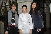 HELENA RIZZO; ELENA ARZAK; LANSHU CHEN; , Veuve Clicquot World's Best Female chef champagne tea party. Halkin Hotel. Halkin St. London SW1. 28 April 2014.
