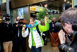Vesna Fabjan at reception of Slovenia team arrived from Winter Olympic Games Sochi 2014 on February 19, 2014 at Airport Joze Pucnik, Brnik, Slovenia. Photo by Vid Ponikvar / Sportida