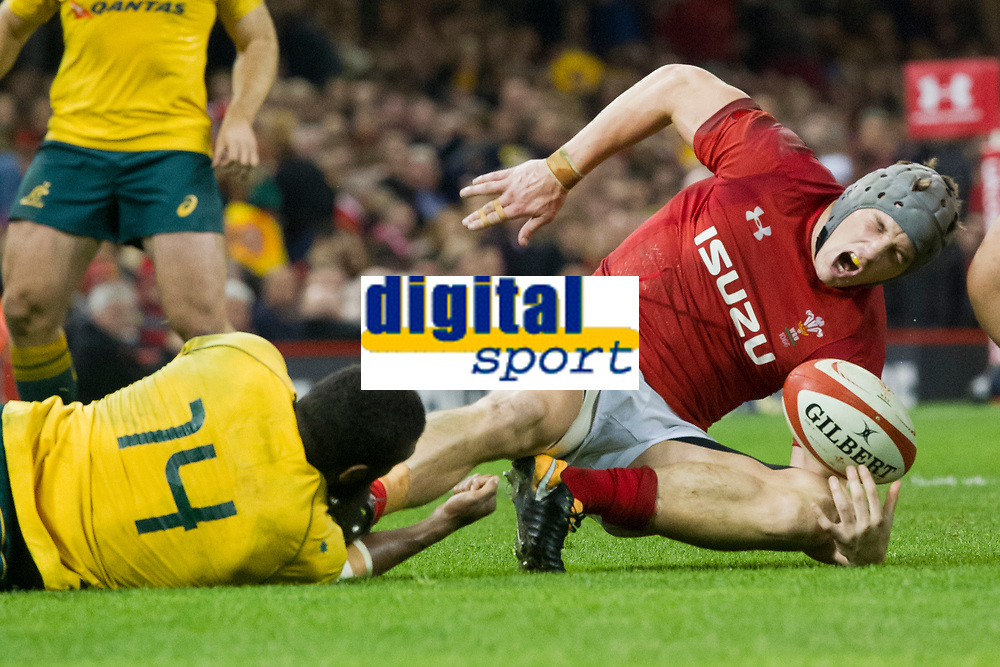Rugby Union - 2017 Under Armour Series (Autumn Internationals) - Wales vs. Australia<br /> <br /> Jonathan Davies of Wales shouts in pain as he is injured in a tackle by Marika Koroibete  of Australia at the end of the game , at The Principality Stadium (Millennium Stadium).<br /> <br /> COLORSPORT/WINSTON BYNORTH