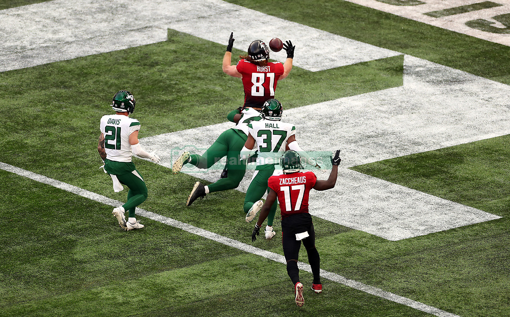 Atlanta Falcons Hayden Hurst catches the ball to score a touch down during the match which is part of the NFL London Games at Tottenham Hotspur Stadium, London. Picture date: Sunday October 10, 2021.