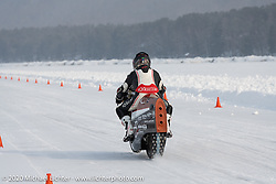 French custom bike builder Bertrand Dubet making a qualifying run on his partially streamlined Aprilia RSV4 racer at the Baikal Mile Ice Speed Festival. Maksimiha, Siberia, Russia. Thursday, February 27, 2020. Photography ©2020 Michael Lichter.
