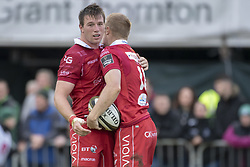 September 22, 2018 - Galway, Ireland - Johnny Nicholl and Ed Kennedy of Scarlets celebrate scoring a try during the Guinness PRO14 match between Connacht Rugby and Scarlets at the Sportsground in Galway, Ireland on September 22, 2018  (Credit Image: © Andrew Surma/NurPhoto/ZUMA Press)