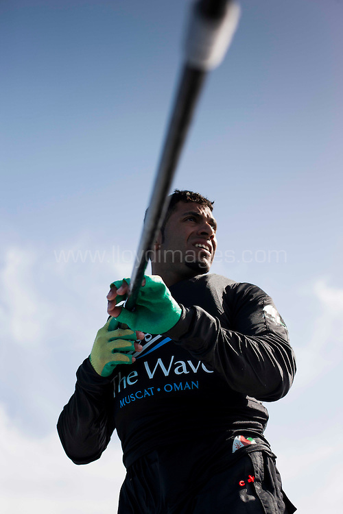 The Extreme Sailing Series 2013. Act 1. SAP Day 2 of racing close to the shore. The Wave Muscat. .Please credit: Lloyd Images