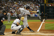 HOUSTON - OCTOBER 26:  Joe Crede #24 of the Chicago White Sox hits a double in the seventh inning during Game 4 of the 2005 World Series against the Houston Astros at Minute Maid Park on October 26, 2005 in Chicago, Illinois.  The White Sox defeated the Astros 1-0.