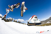 Snowboarding in Keystone A51 park. Keystone, Colorado