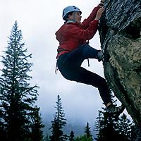 ROCK CLIMBING. Hilary Rathbone (MR) climbs near Banff, Alberta, Canada.