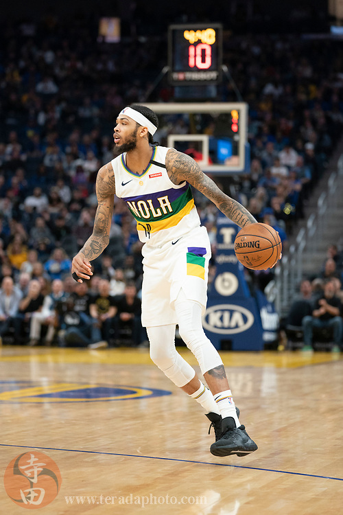 February 23, 2020; San Francisco, California, USA; New Orleans Pelicans forward Brandon Ingram (14) dribbles the basketball during the fourth quarter against the Golden State Warriors at Chase Center.