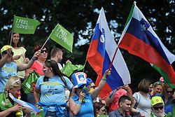 June 2, 2018 - Prague, Czech Republic - Fans of Slovenia during the finals race at the European Canoe Slalom Championships 2018 at Troja water canal in Prague, Czech Republic, 02 June 2018. (Credit Image: © Slavek Ruta via ZUMA Wire)