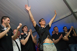 Jure Dobelsek of Cimos Koper and fans celebrate  after the handball match between RK Cimos Koper (SLO) and SL Benfica (POR) in return final match of EHF Challenge Cup, on May 22, 2011 in Tent at Arena Bonifika, Koper, Slovenia. Koper defeated Benfica 31-27 and became Euro Challenge Champion 2011. (Photo By Vid Ponikvar / Sportida.com)