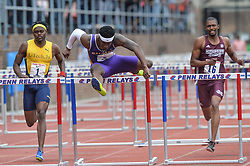 April 27, 2018 - Philadelphia, Pennsylvania, U.S - ROHAN COLE (1), SIDNEY GIBBONS (8), and HERBERT WISE III (16) compete in the College Men's Shuttle Hurdles 4x110m at Franklin Field in Philadelphia, Pennsylvania. (Credit Image: © Amy Sanderson via ZUMA Wire)