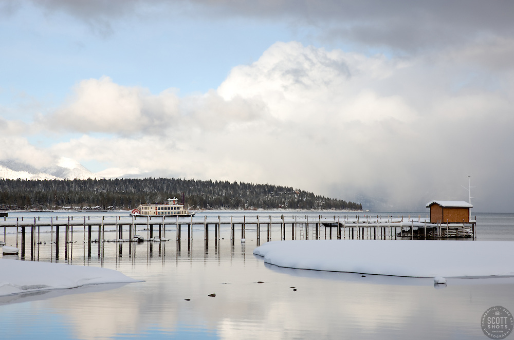 """""""Pier in Tahoe City 1"""" - This pier and paddlewheel boat were photographed In Tahoe City, Lake Tahoe."""