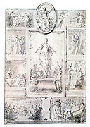 Study for a composition. Pen, ink and was.  Francesco Mazzuoli called Il Parmigiano (1503-1540) Italian painter.