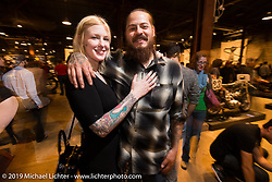 Cristiain Sosa and Nicole Fountain on Saturday at the Handbuilt Motorcycle Show. Austin, TX. April 11, 2015.  Photography ©2015 Michael Lichter.