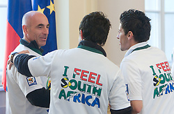 Milos Rus, Bojan Jokic and Robert Koren at Reception of Slovenian National football team at president of Republic of Slovenia dr. Danilo Turk after Slovenia qualified for the FIFA World Cup South Africa 2010, in President's place , Ljubljana, Slovenia.   (Photo by Vid Ponikvar / Sportida)