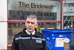 """© Licensed to London News Pictures;22/03/2021; Bristol, UK. Avon & Somerset Chief Constable ANDY MARSH talks to the media outside Bridewell Police Station the morning after a """"Kill the Bill"""" protest against the Police, Crime, Sentencing and Courts Bill when a police car and a police van were set on fire as police clashed with protesters. The Police, Crime, Sentencing and Courts Bill proposes new restrictions on protests. Photo credit: Simon Chapman/LNP."""