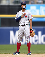 CHICAGO - MAY 05:  Xander Bogaerts #2 of the Boston Red Sox blows a bubble while looking on against the Chicago White Sox on May 5, 2019 at Guaranteed Rate Field in Chicago, Illinois.  (Photo by Ron Vesely)  Subject:  Xander Bogaerts