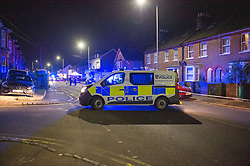 © Licensed to London News Pictures. 05/10/2019. Chesham, UK. Emergency services at the scene of an unconfirmed 'acid attack' in the Buckinghamshire town of Chesham. Police, Ambulance and Fire service attended an incident on Broad Street at the corner of Higham Road in Chesham on Saturday evening, unconfirmed reports suggest an acid attack took place in the Cost Cutter store. Police have arrested one person and put a cordon in place around several shops and vehicles. Photo credit: Peter Manning/LNP