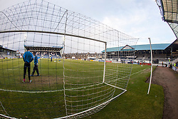 Looking towards the South Stand and the Mian Stand at Stark's Park, the home ground of Scottish football team, Raith Rovers F.C.