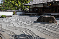 Jotenji Zen Garden - Joten-ji is a Rinzai temple in Hakata, Fukuoka, its construction was completed in 1242.  The grounds of Jotenji feature a Zen garden. The founding priest of the temple, Enni Benen went to China where he studied Zen Buddhism and came back to Japan in 1241.  Besides the teachings of Buddhism, he brought back to Japan a variety of cultural features from China including production methods of noodles.  Jotenji Temple is special because of its striking temple gate and and stone garden.   The gate has become the new symbol of Hakata.  The cry Zen karesansui garden was modeled from Kenninji Kyoto.