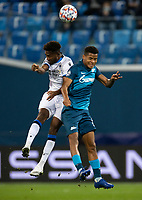 SAINT-PETERSBURG, RUSSIA - OCTOBER 20: Wílmar Barrios of Zenit St Petersburg and Emmanuel Dennisof Club Brugge KV compete for a header during the UEFA Champions League Group F match between Zenit St Petersburg and Club Brugge KV at Gazprom Arena on October 20, 2020 in Saint-Petersburg, Russia [Photo by MB Media]