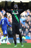 Mame Biram Diouf of Stoke City reacts after missing a chance to score. Barclays Premier league match, Chelsea v Stoke city at Stamford Bridge in London on Saturday 5th March 2016.<br /> pic by John Patrick Fletcher, Andrew Orchard sports photography.