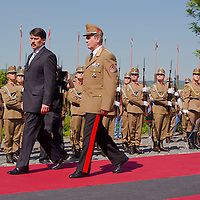 Janos Ader newly elected president of Hungary inspects the honor guards during his official inauguration ceremony in Budapest, Hungary on May 10, 2012. ATTILA VOLGYI