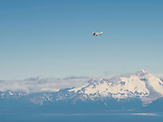 A tourist airplane flies in front of the volcano, Mt. Iliamna, over the Cook Inlet, Alaska.