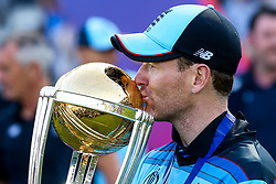 Eoin Morgan of England kisses the ICC Cricket World Cup Trophy as England are crowned Champions for 2019 - Mandatory by-line: Robbie Stephenson/JMP - 14/07/2019 - CRICKET - Lords - London, England - England v New Zealand - ICC Cricket World Cup 2019 - Final