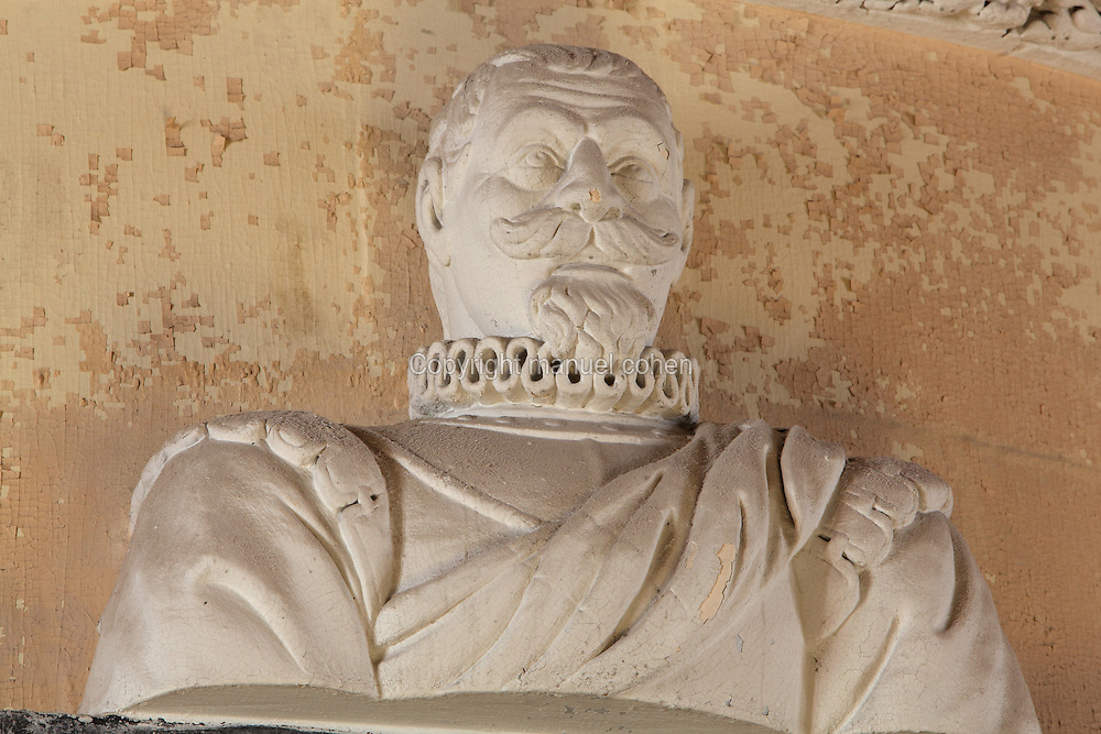 Bust of Louis de Foix, 1530-1604, French architect and engineer and designer of the lighthouse, in the Royal Chapel, on the second floor of the Phare de Cordouan or Cordouan Lighthouse, built 1584-1611 in Renaissance style by Louis de Foix, located 7km at sea, near the mouth of the Gironde estuary, Aquitaine, France. This is the oldest lighthouse in France. There are 4 storeys, with keeper apartments and an entrance hall, King's apartments, chapel, secondary lantern and the lantern at the top at 68m. Parabolic lamps and lenses were added in the 18th and 19th centuries. The lighthouse is listed as a historic monument. Picture by Manuel Cohen