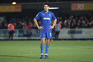 AFC Wimbledon defender Will Nightingale (5) with hands on hips during the EFL Sky Bet League 1 match between AFC Wimbledon and Barnsley at the Cherry Red Records Stadium, Kingston, England on 19 January 2019.