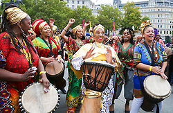 October 14, 2017 - London, United Kingdom - People from all communities attend the annual Africa on the Square festival in Trafalgar Square. The parade of traditional African dancers started off the event. (Credit Image: © Dinendra Haria/i-Images via ZUMA Press)